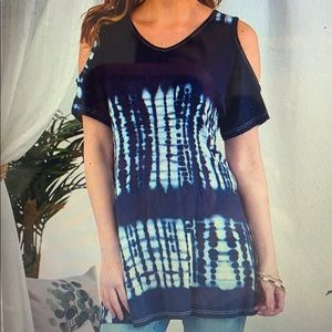 Woman's Tie-Dye Tunic in Two Colors. Navy or Teal